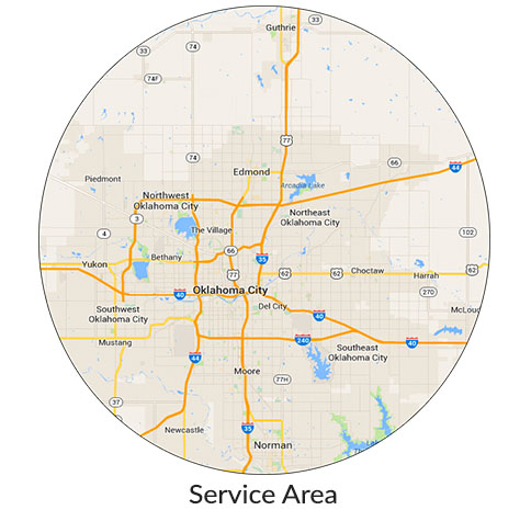 Edmond and OKC appliance and TV repair service area map