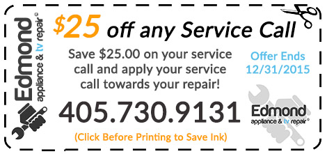 Edmond and OKC appliance and TV repair Coupon